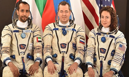 The astronaut is going on a space trip with Al Qur'an